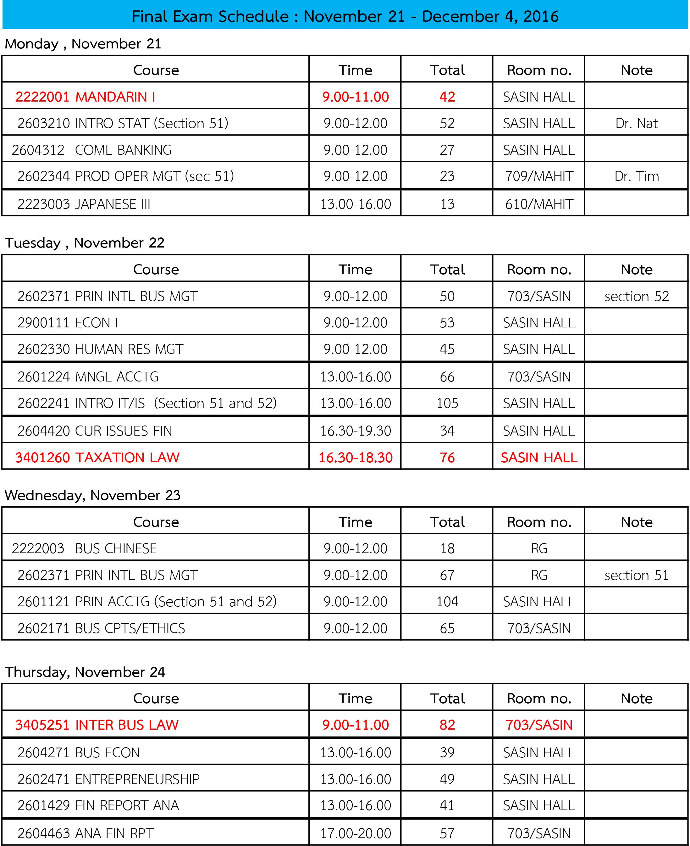 Final Exam Schedule on November 21 - December 4, 2016_(