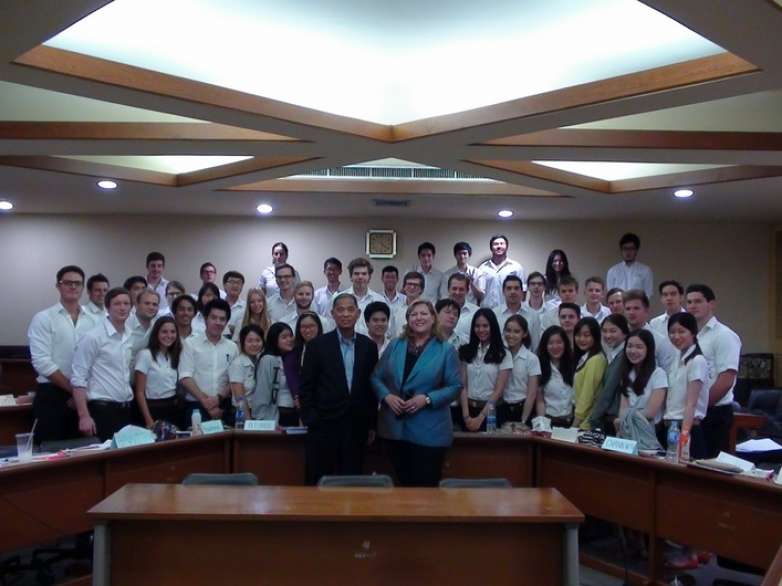 "Ms. Janice Van Ekeren was a guest lecturer in ""Current Issue in Finance"" class"